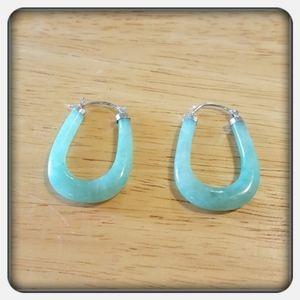 NWOT Woman's Green Jade & Sterling Hoop Earrings